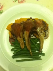 Rack of lamb with port sauce sweet pot mash and beans