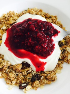 Apricot Granola with natural yoghurt and frozen berry compote Laura of London