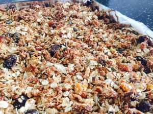 Apricot Granola out of the oven Laura of London Laura Nana